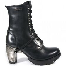 NEWROCK New Rock TR001-S1  Black Leather Lace Up Boots BIKER TRIAL COLLECTION