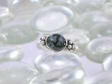 Snowflake Obsidian Sterling Silver Bali Bead Ring