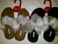 Womens STYLE & CO Faux Fur Slip On Slippers Open Back