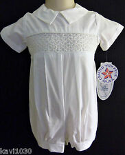 Boy's White Christening Baptism Cotton Smocked Outfit Romper Suit 0-24M / Jeremy