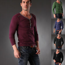 Mens T-shirt Long Sleeve Basic Tee Slim Fit V Neck Layered Look 4 Color