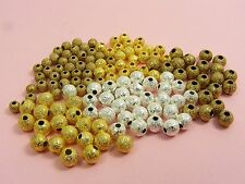 100 ROUND Metal STARDUST Spacer BEADS 3mm  4mm  ~SILVER / GOLD / BRASS~