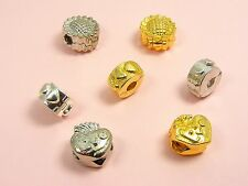1 Clip LOCK STOPPER Bead CHARM fits European Bracelet ~Sunflower or Love Heart ~