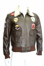 TOP GUN MENS FASHION CLASSIC, SPORT,FUR COLLAR BROWN LEATHER BOMBER JACKET