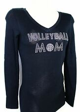 RHINESTONE VOLLEYBALL MOM   SHEER  JUNIOR V NECK SHIRT  NEW TOP S M L XL 2XL 3XL