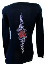 RHINESTONE  ROSE TATTOO   SHEER JUNIOR V NECK SHIRT NEW TOP S M L XL 2XL 3XL