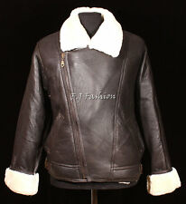 Men's Aviator Brown Real Shearling Sheepskin Leather Bomber Winter Flying Jacket