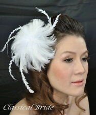 #803 FLOWER FEATHER FASCINATOR HAIR CLIP Ivory / White For Birdcage Blusher Veil