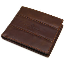 Vintage Style Brown Cowhide Leather Bifold  Men's Wallet Purse Zippered Pocket