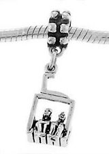 STERLING SILVER COUPLE SITTING ON CHAIR LIFT - PEOPLE SITTING ON SKI LIFT CHARM