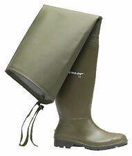 New Mens Dunlop Fishing Green Thigh Waders Wellies Wellingtons Boots Size 6-12