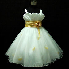 G818 Gold White Christmas Party Flower Girls Pageant Dresses SIZE 2-3-4-5-6-7-8Y