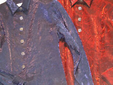 Ladies Western Show Shirt Crushed Material Holiday Western Wear USA    57A