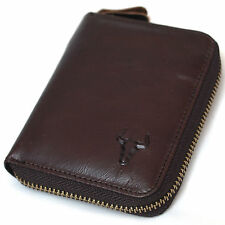 New Mens Vintage Brown Leather Zip Around Bifold Wallet Purse Coin Pouch