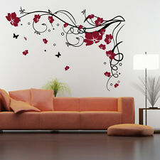 Large Flower Butterfly Vine Wall Stickers / Wall Decal