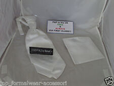 Shiny  White MENS wedding Ruche Tie-Cravat & Hankie-*More U Buy >The More U Save