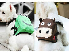 Cute Brown Cattle & Green Frog Dog Bag Dog Backpack Carrier Harness Saddle Bag