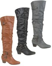 WOMENS LOW HEEL IMMI. LEATHER BUCKLE THIGH LENGTH BOOTS AVAILABLE IN UK SIZE 3-8