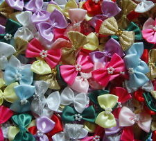 Satin Ribbon Bows With Pearls Embellishments x 10 - * Choose Your Colour *