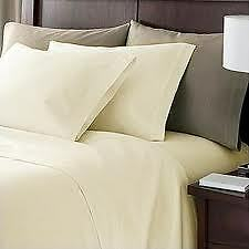 Sale 1200TC 100%Cotton UK Bedding Collection Solid Ivory All Sizes Free Shipping