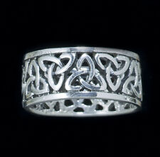 Lovely Celtic Triquetra Wide Band Ring- Charmed Symbol Silver