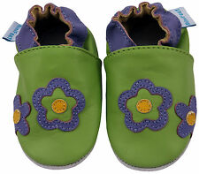 MINIFEET LEATHER BABY & TODDLER GIRLS SHOES 0-6,6-12,12-18,18-24 Mth GREEN DAISY