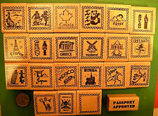 Country and Continent Passport Stamp Frame Rubber Stamps, wood mounted