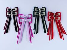DOUBLE PIGTAIL HAIR BOWS BY CORNERSTONE BROWBANDS - YOUR COLOUR CHOICE