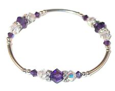 Deep PURPLE CLEAR AB Crystal Bracelet Sterling Silver Stretch Swarovski Elements