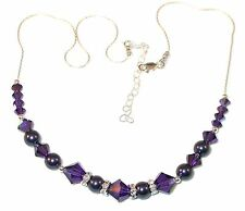 Deep PURPLE Pearl & Crystal Necklace Sterling Silver Velvet Swarovski Elements