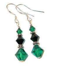 EMERALD GREEN & BLACK Earrings Swarovski Crystal Elements Bali Sterling Silver