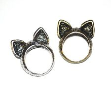 KITTY CAT EARS RING Gold Or Silver Tone NEW GIFT BOXED Cute Animal Quirky Indie