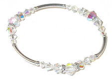 CLEAR AB Crystal Bracelet SWAROVSKI Elements Sterling Silver Stretch