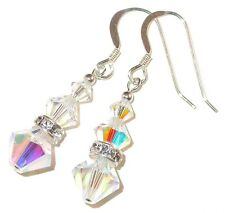CLEAR AB Crystal Earrings Sterling Silver Pierced & Clip-on Swarovski Elements