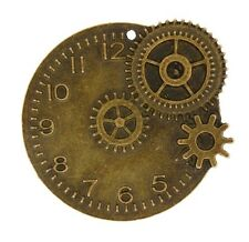 Antique Brass Clock face with cogs steampunk style 1pc or 6pcs (068)