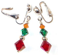 JEWELTONE Crystal Earrings Topaz Emerald Ruby Sterling Silver Swarovski Elements