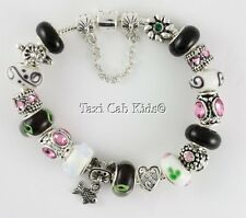 Silver European Charm Bracelet Murano Lampwork Beads * Mom Cat Lover!