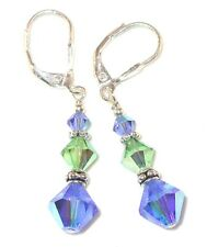 Sapphire BLUE Peridot GREEN Crystal Earrings Sterling Silver Swarovski Elements