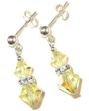 JONQUIL YELLOW Crystal Earrings Sterling Silver Dangle Swarovski Elements