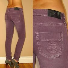 $402 Alexander McQueen Italy Skinny Colored Purple McQ Logo Embroid Jeans 26 NWT