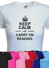 keep calm and carry on reading tshirt womens funny book worm t-shirt