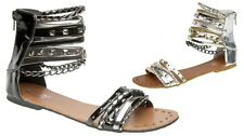 WOMEN'S MODERN DESIGNER-INSPIRED CHAINED MULTI-STRAP FLAT SANDALS IN UK SIZE 3-8