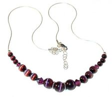 SWAROVSKI CRYSTAL Elements & CATSEYE Sterling Silver Necklace AMETHYST PURPLE