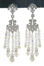 "Handcrafted SWAROVSKI CRYSTAL & PEARL Bridal 3"" Long Chandelier EARRINGS"