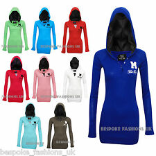 New Ladies Long Sleeve Miss Sexy Women's Bodycon Cotton Hoodie Plus Size 8-20