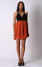 WOMENS LADIES PLEATED PARTY DRESS ORANGE SIZE 10, 12