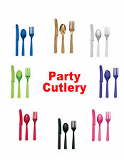 COLOURED PLASTIC CUTLERY - Pack of 24 - 8 Knives, Forks & Spoons