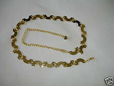 Half Circle Pattern Metal Chain Belt One Size Free Style New In Silver, Gold