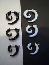 Acrylic & Steel Fake Spiral Taper Earring 1.2mm - Black or White - 3 Sizes