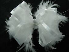 Girls FlowerGirl Spring Christening Wedding Feather White Hair Bow Clip Headband